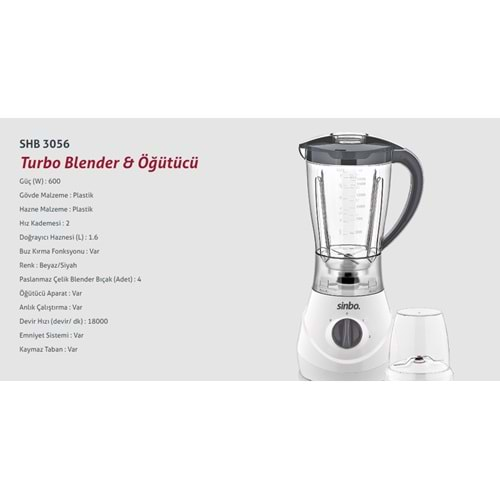 SİNBO TURBO BLENDER SHB 3056